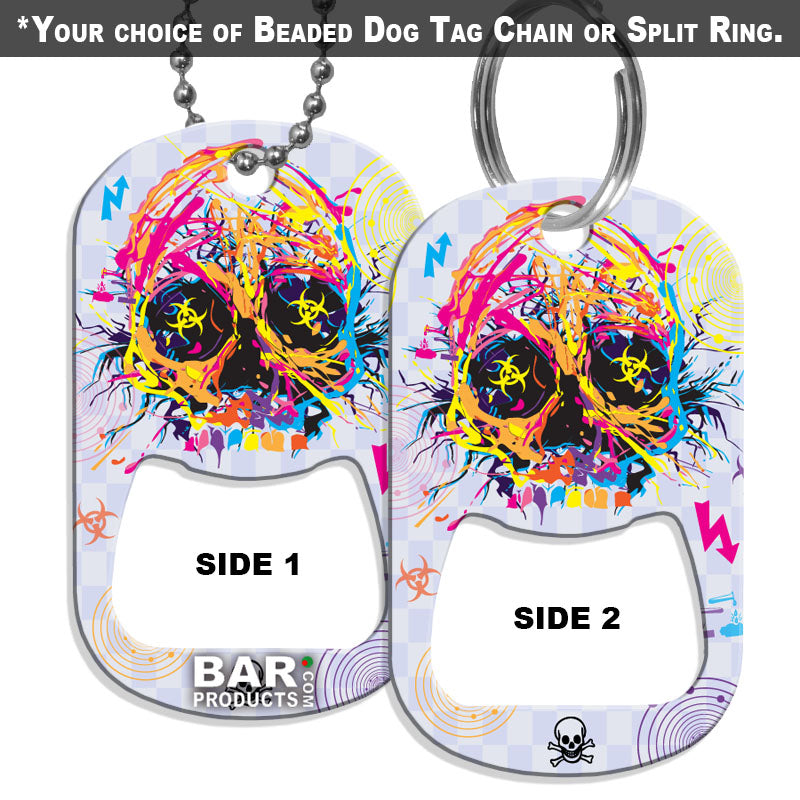 Dog Tag Opener - Radioactive Skull