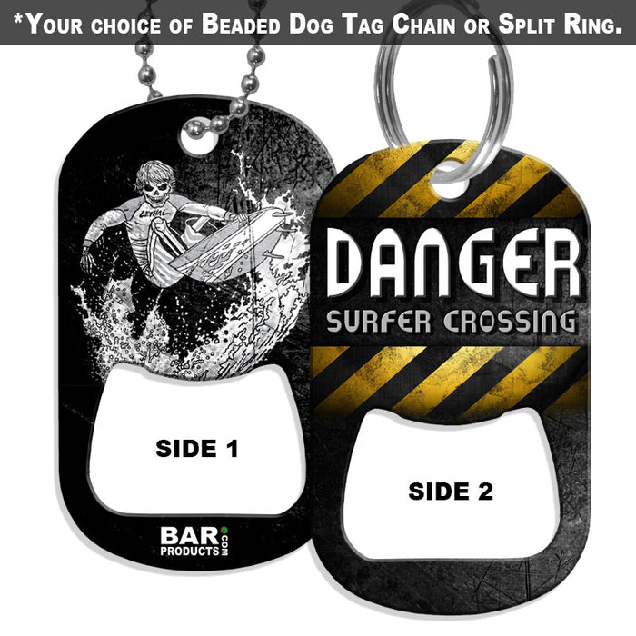 Dog Tag Bottle Opener - DANGER Surf Style