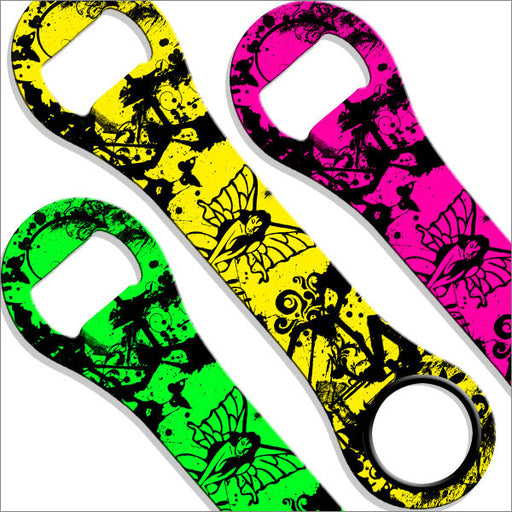 Dog Bone Bottle Opener / Bar Key - Neon Tribal Fairy - Color Options