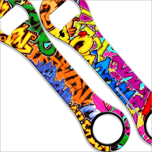 Dog Bone Bottle Opener / Bar Key - Colorful Graffiti