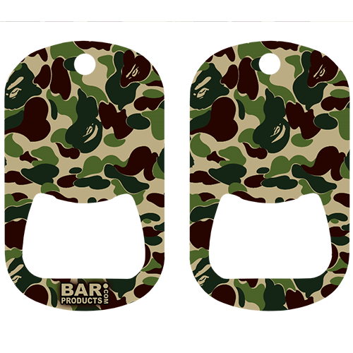 Green & Brown Camo Dog Tag Opener