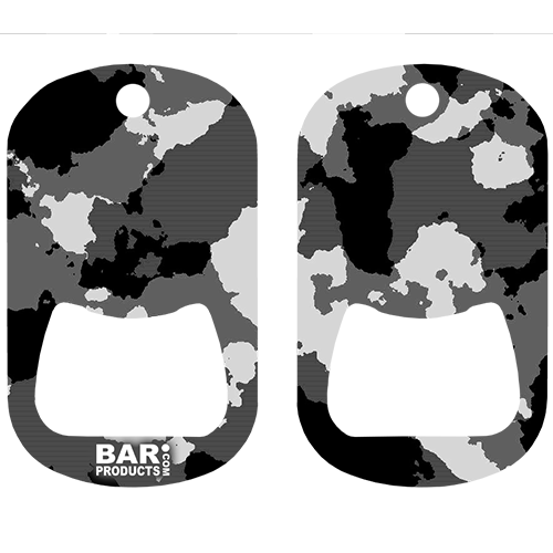 Black and Grey Camo Dog Tag Opener