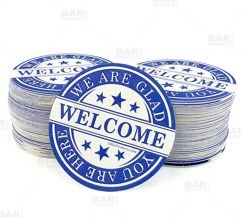 "Drink Coasters - Round 3.5"" Diameter ""We Are Glad You Are Here"" - Pack of 250"