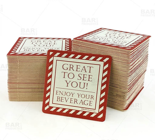 "Drink Coasters - Square 3.5"" x 3.5"" - ""Enjoy Your Beverage"" - Pack of 125"