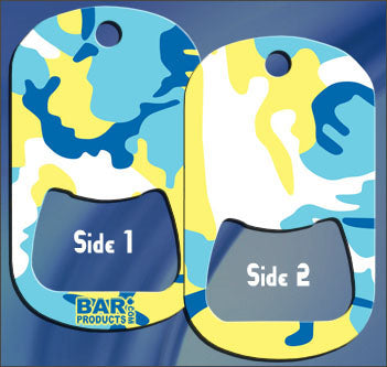 Dog Tag Bottle Opener - Blue and Yellow CAMO