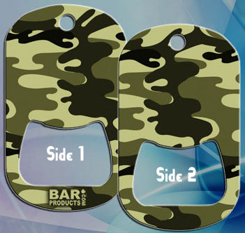 Dog Tag Bottle Opener - Dark Green CAMO