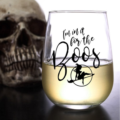 HALLOWEEN BOOS - Stemless Wine Glass (17oz)