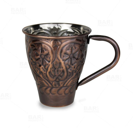 Copper Plated Flower Embossed Moscow Mule Mug - 16oz