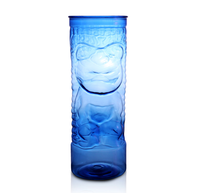 BarConic® Drinkware - Blue Plastic Tiki Cup w/ Lid and Straw - 24 ounce