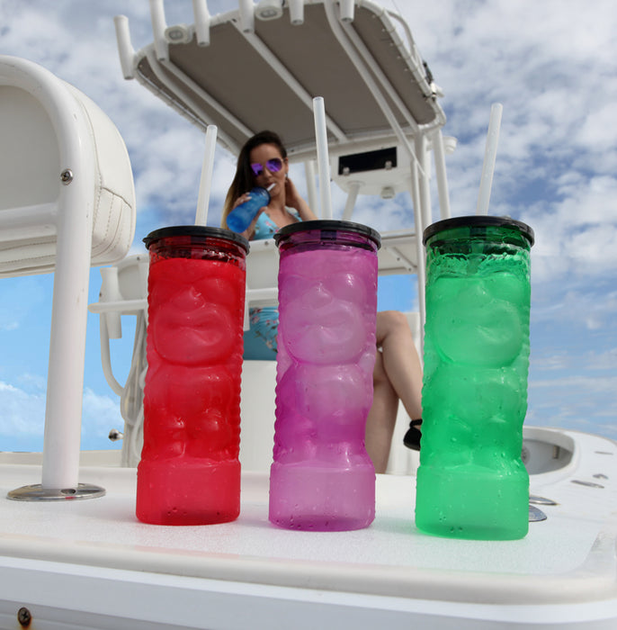 BarConic® Drinkware Pink Plastic Tiki Cup w/ Lid and Straw - 24 ounce