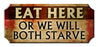 Eat Here Wood Plaque Kolorcoat™ Sign