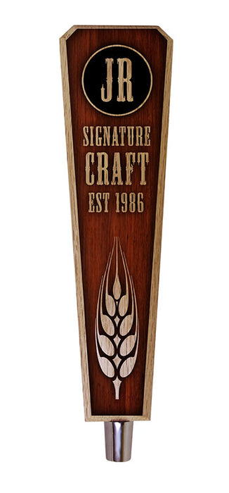 Oak Wood Beer Tap Handles - Flared Shape - Initial Signature Craft - 10 inch