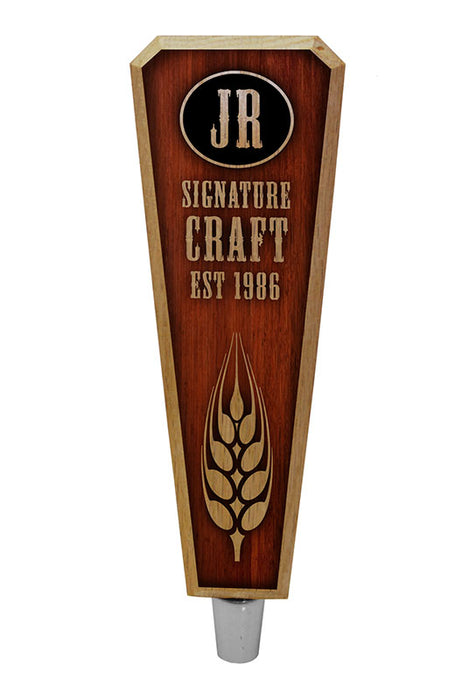 Oak Wood Beer Tap Handles - Flared Shape - Initial Signature Craft - 8 inch