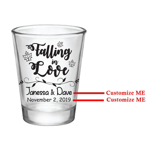 CUSTOMIZABLE - 1.75oz Clear Shot Glass - Falling In Love