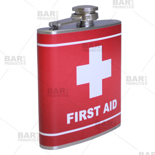 Stainless Steel Hip Flask - First Aid Design - 6 ounce Side View