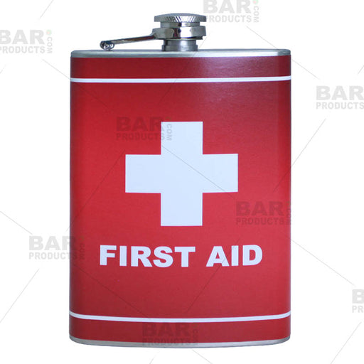 Stainless Steel Hip Flask - First Aid Design - 8 ounce