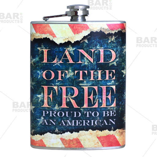 Stainless Steel Hip Flask - Vintage Patriotic Design - 8 ounce