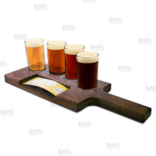 Flight Tray Beer Sampler Paddle with Paper Insert Slot – 4 Recessed Holes