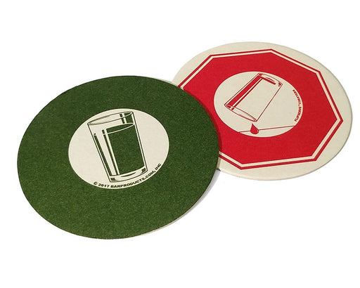 "Flipserve™ Drink Coasters - ""Cocktails"" Red Stop and Green Go - 4"" Round - Pack of 100"