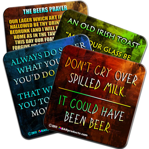 Cork Bottom Coasters - Drinking Themed
