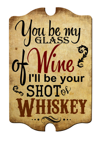 Glass of Wine/Shot of Whiskey Wood Plaque Bar Sign Tavern-shaped