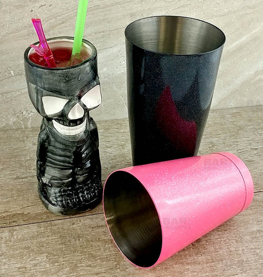 BarConic® Cocktail Shaker Set - 28oz / 18oz Weighted Tins - Twilight Black / Glitter Pink