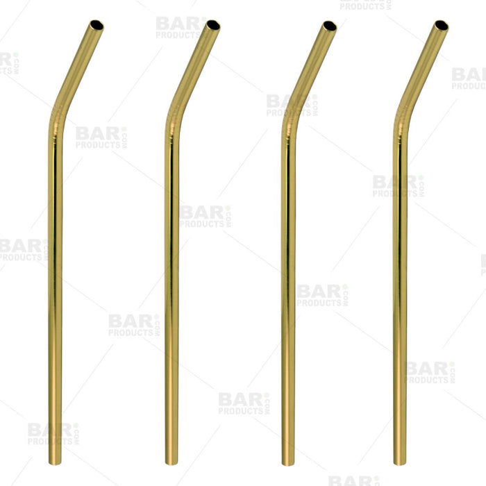 Gold Plated Cocktail Straws - 4 Pack