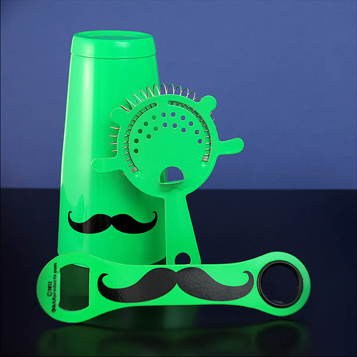 Mustache Bar Set - 3 Pieces - Neon Green