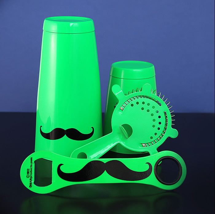 Mustache Bar Set - 4 Pieces - Neon Green