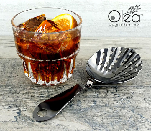 Olea™ Shell Julep Cocktail Strainer - Gunmetal Plated