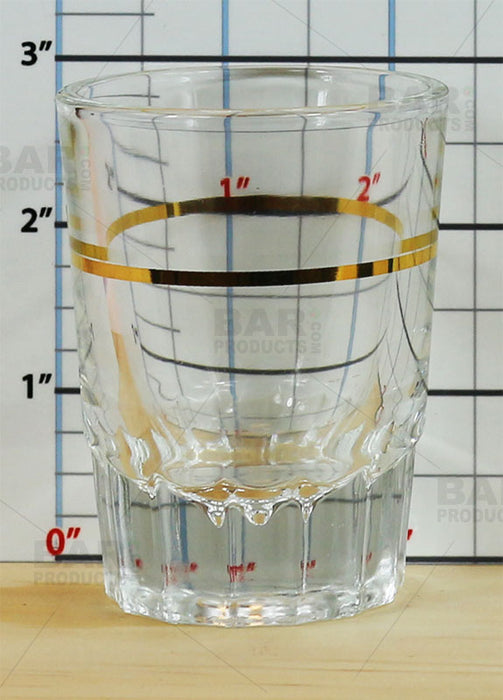 Shot Glass with Gold 1oz Measure Line - 2oz