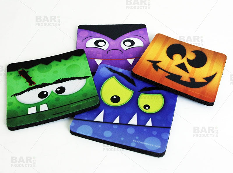 Halloween Themed Foam Coasters - 3.5 inch Square