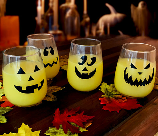 Halloween Jack O'Lantern Stemless Wine Glasses