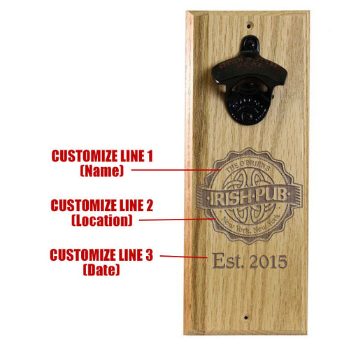 Engraved Irish Pub Wooden Wall Bottle Opener w/ Magnetic Cap Catcher