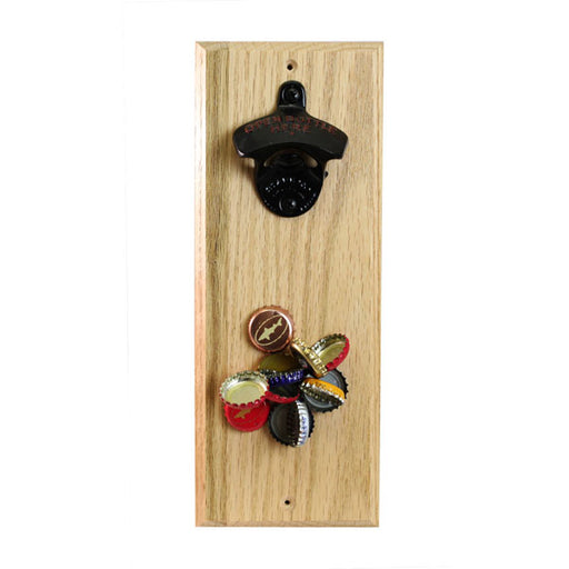 Hard Wood Wall Bottle Opener with Magnetic Cap Catcher