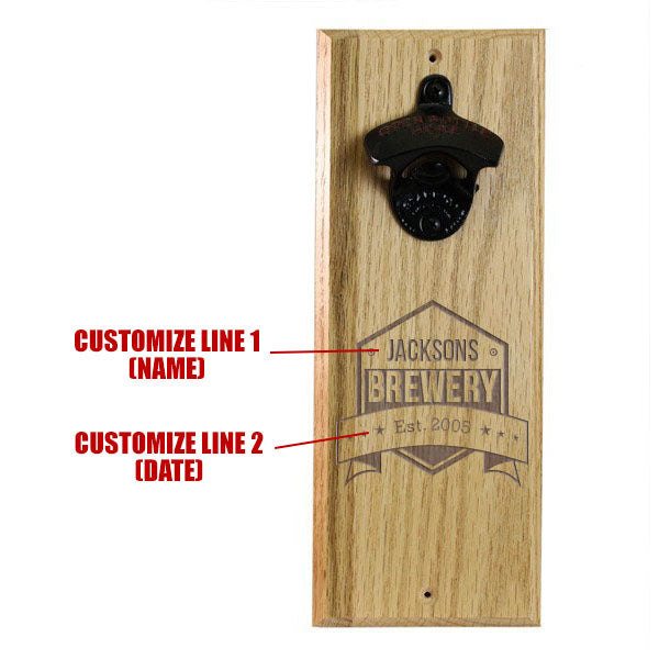 Engraved Brewery Wooden Wall Bottle Opener w/ Magnetic Cap Catcher