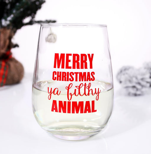 Merry Christmas Ya Filthy Animal Stemless Wine Glass
