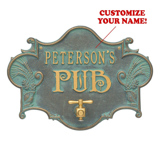 CUSTOMIZABLE Cast Aluminum Plaque (and Bottle Opener) - Hops and Barley Beer Pub Design