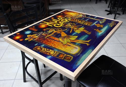 "Blue Hula Bar Flame 24"" x 30"" Wooden Table Top - Two Types Available"