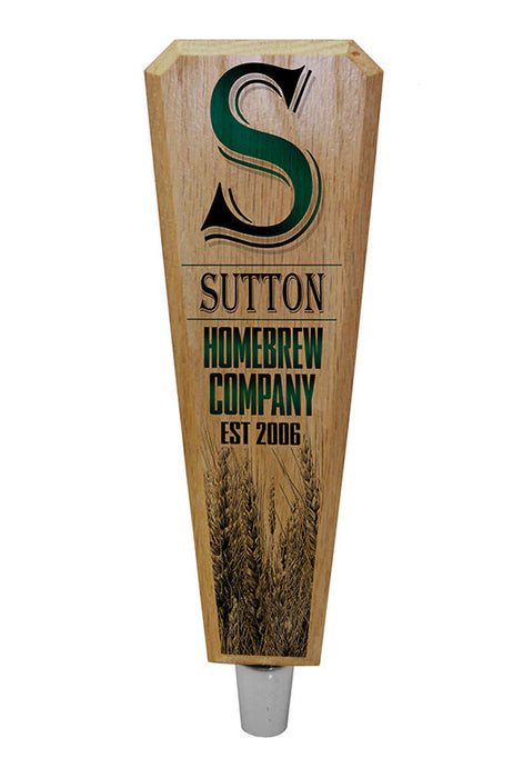 Custom Oak Wood Beer Tap Handles - Flared Shape - Initial Homebrew Company - 8 inch
