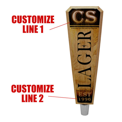 Oak Wood Beer Tap Handles - Flared Shape - Initial LAGER Design