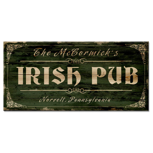 "CUSTOMIZABLE Large Vintage Wooden Bar Sign - IRISH PUB - 11 3/4"" x 23 3/4"""