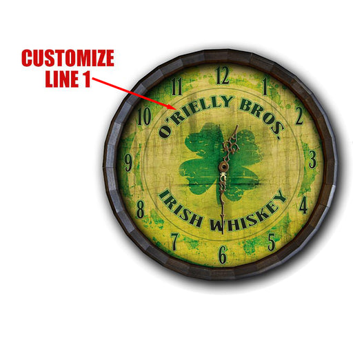Custom Wood Barrel Top Clock – Irish Whiskey
