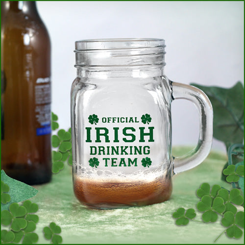 Irish Drinking Team Mason Jar - 12 ounce