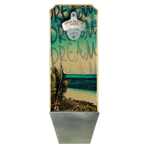 Island Dreams – Wall Mounted Wood Plaque Bottle Opener and Cap Catcher