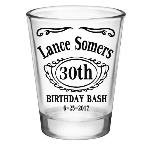 CUSTOMIZABLE - 1.75oz Clear Shot Glass - Birthday Bash