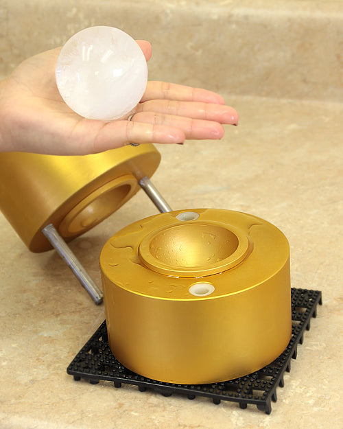 Interchangeable Japanese Ice Ball Maker - Finished Ice Ball in Hand