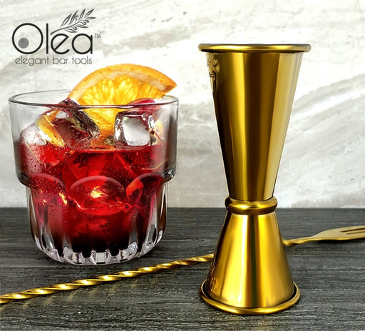 Olea™ Japanese Tall Jigger - Gold Plated - 1 1/2oz X 1oz