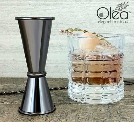 Olea™ Japanese Tall Jigger - Gunmetal Plated - 1 1/2oz X 1oz