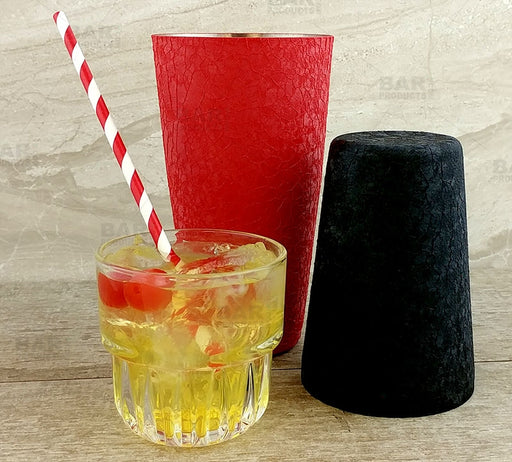 BarConic® Cocktail Shaker Set - 28oz / 18oz Tins - Komodo Koat™ Red / Black